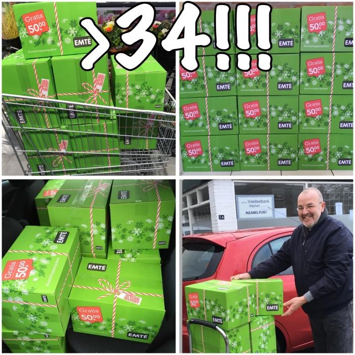 > 34 Boodschappenpakketten voor de Voedselbank
